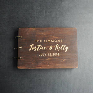 Guest-Book Couple Engraved Wedding-Album-Gift Wood Custom Rustic Personalized