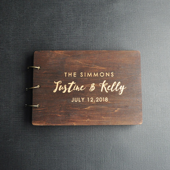 Personalized Guest Book Rustic Wedding Wood Custom Engraved Album Gift for Couple