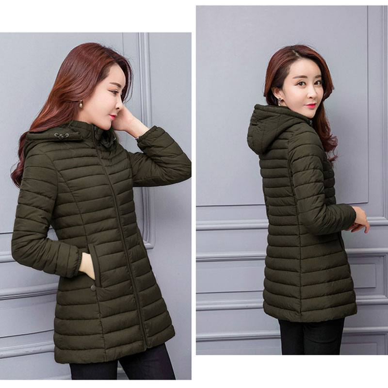 Image 4 - winter jacket women parka Large size Thicken warm Hooded long Slim Solid Down cotton coat jacket women Outwear Parkas-in Parkas from Women's Clothing