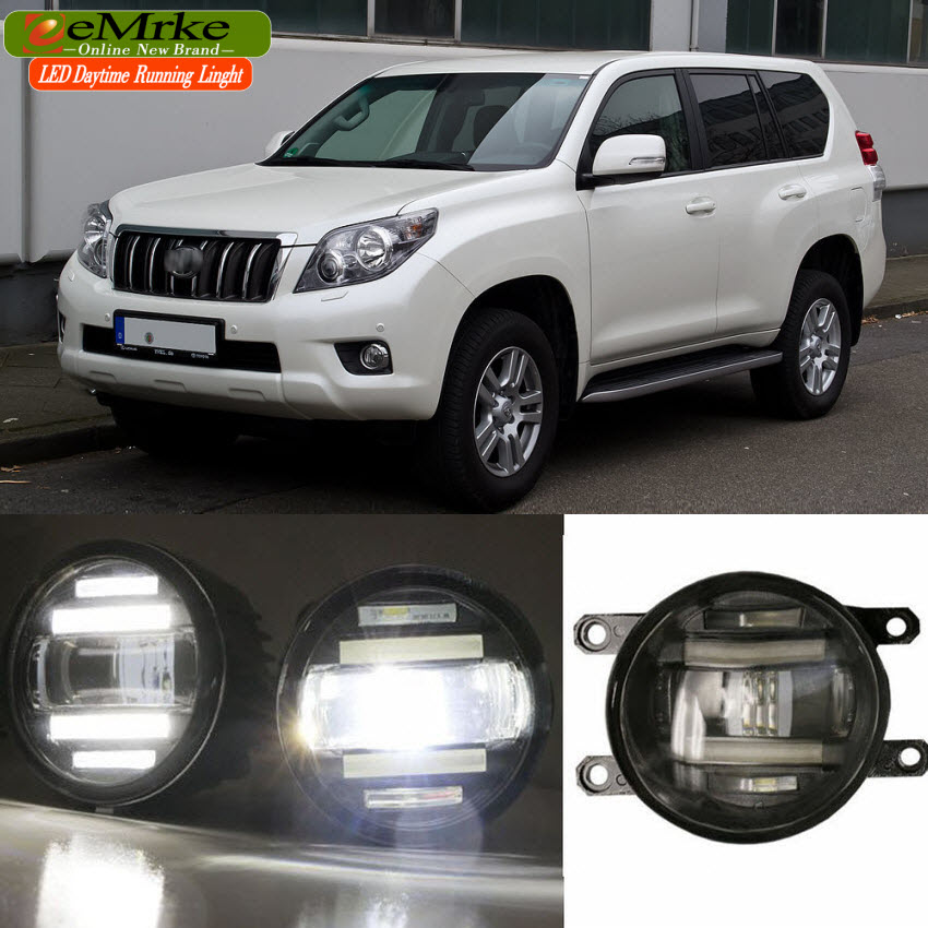 eeMrke Xenon White High Power 2in1 LED DRL Projector Fog Lamp With Lens For Toyota Land Cruiser Prado J150