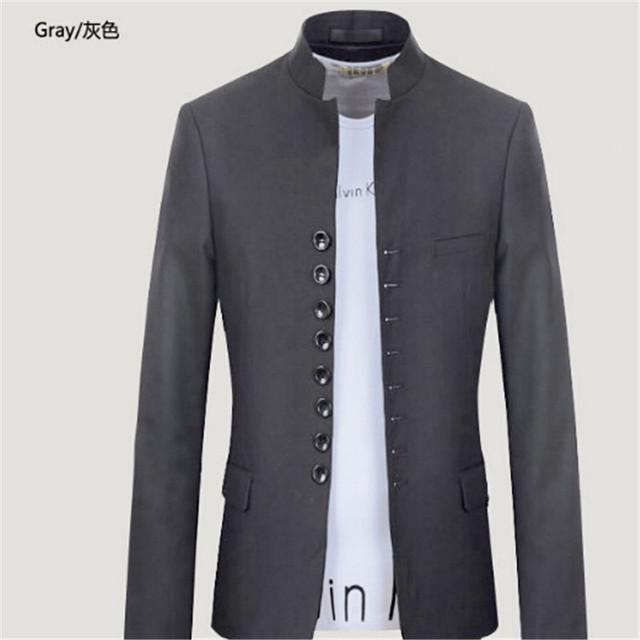 Chaqueta de Cuello mao Hombres Gris/Negro Único Breasted Casual/Retro de Los Hombres Slim Fit Blazer Jacket Mens Del Estilo Chino traje M-2XL
