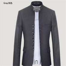 Mandarin Collar Blazer Men Grey/Black Single Breasted Casual/Retro Men Slim Fit