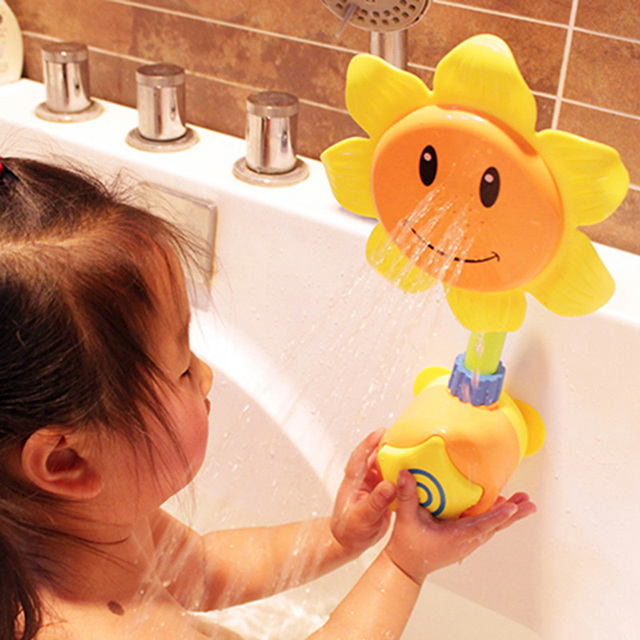 Baby Bath Toys Kids Sunflower Shower Faucet Head Toy Colorful Plastic ABS Bathing Water