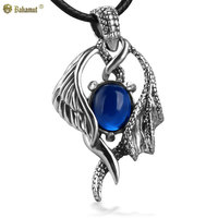 Bahamut 925 Sterling Silver Jewelry Angel and Devil Wing Silver Pendant Necklace