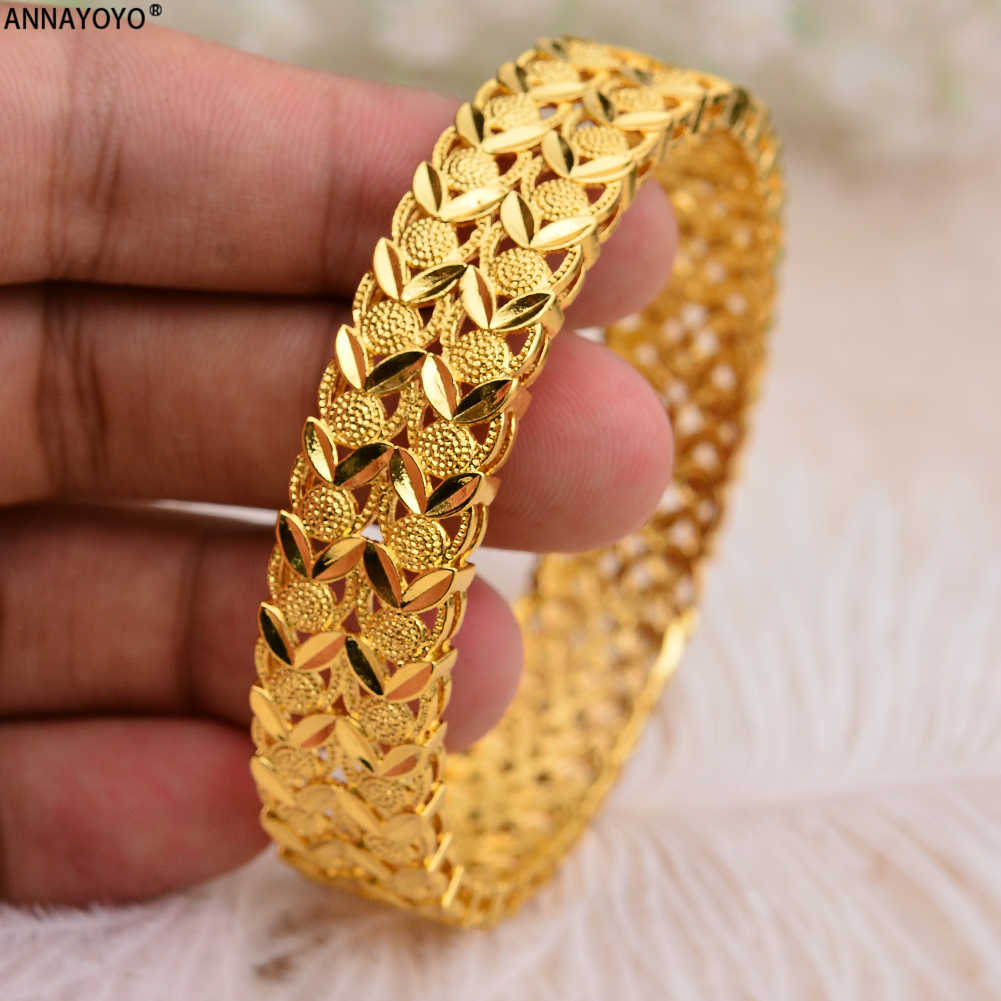 Annayoyo Can open 1pcs Dubai Gold Bangles Width Women Men Gold Bracelets African European Ethiopia Girls Bride Bangles Gift