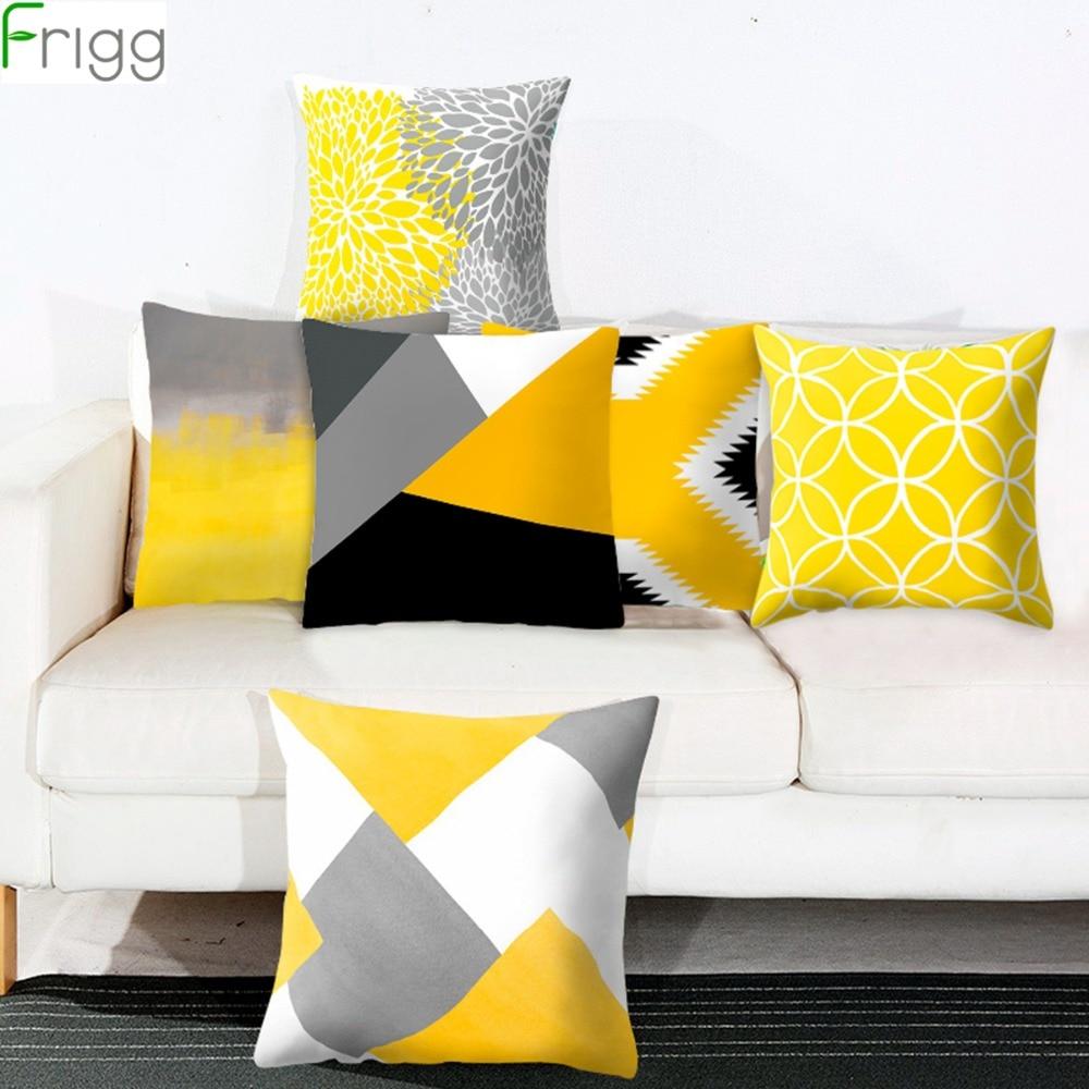Frigg Yellow Geometric Cushion Cover Sofa Decorative Pillow Case Living Bedding Room Home Decor Throw Pillowcase Couch Cushion