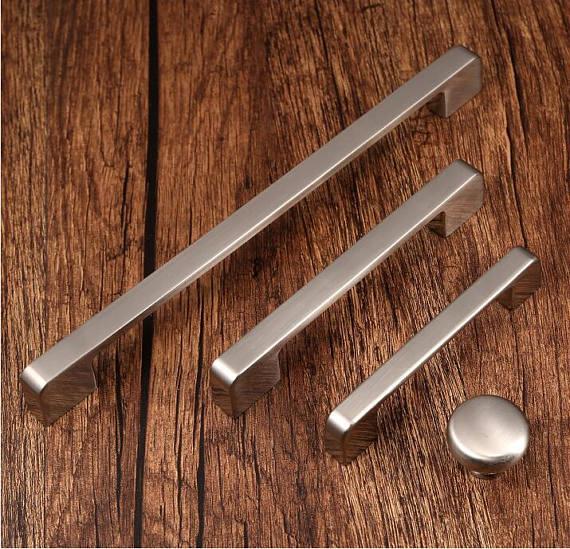 96 128 160 192 224mm Brushed Nickel Black Cabinet Door Handles Dresser Pull Drawer Knobs Pulls Handle Kitchen Cabinet Hardware in Cabinet Pulls from Home Improvement