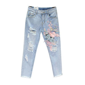 Sequin Jeans Pencil-Pants Flower Ripped Loose Vintage Sexy Casual Denim Women Luxury