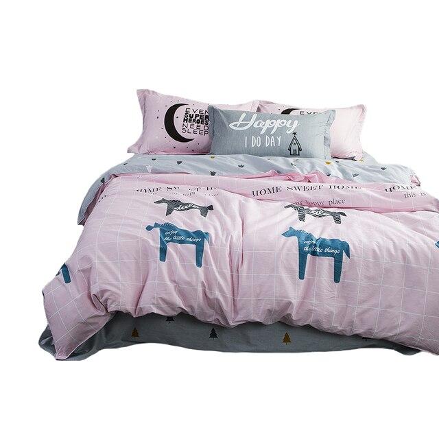 Arnigu Cartoon Print Duvet Cover Set Twin Double Queen Single Size 100 Cotton Bedding Sets