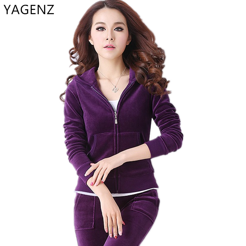 Ladies High-end Gold Velvet Suit 2017 Ladies Spring Clothes New Large Size Clothes Pants Two-piece Sportswear Bh079 Smoothing Circulation And Stopping Pains Women's Sets Women's Clothing