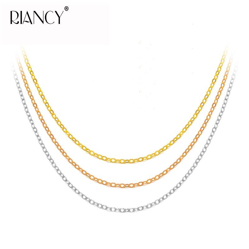 Chaînes en or 18K véritable pour femmes, collier de bijoux en or fin Au750, 45 cm, boîte-cadeau