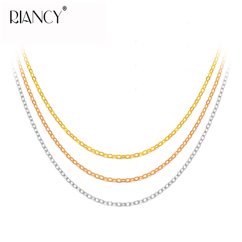 Fashion Genuine 18K Gold Chains For Women,Au750 Fine Gold Jewelry Necklace,45cm,Gift Box