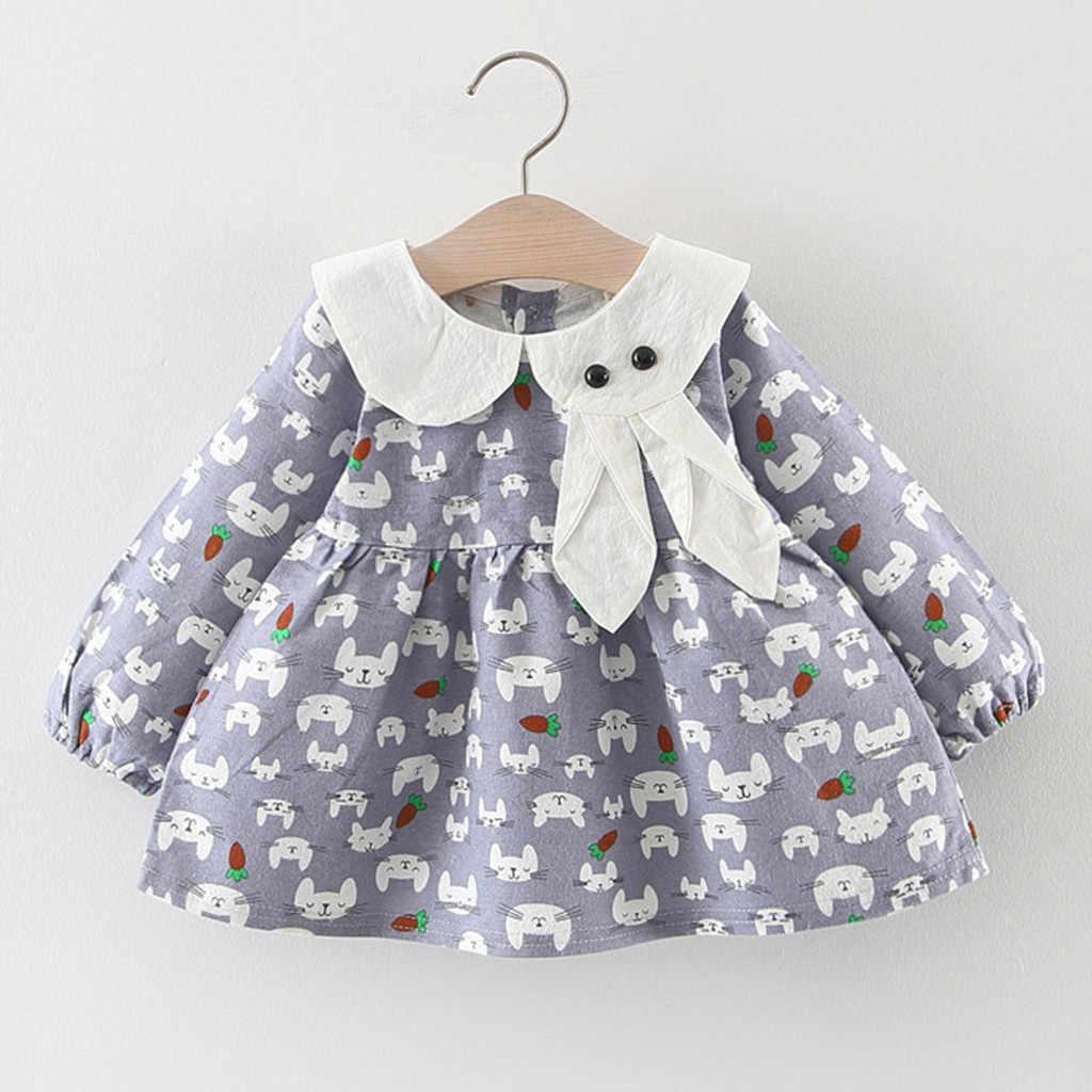 Crianças vestido infantil do bebê meninas manga longa coelho impressão vestidos de princesa roupas menina meninas outono festa algodão