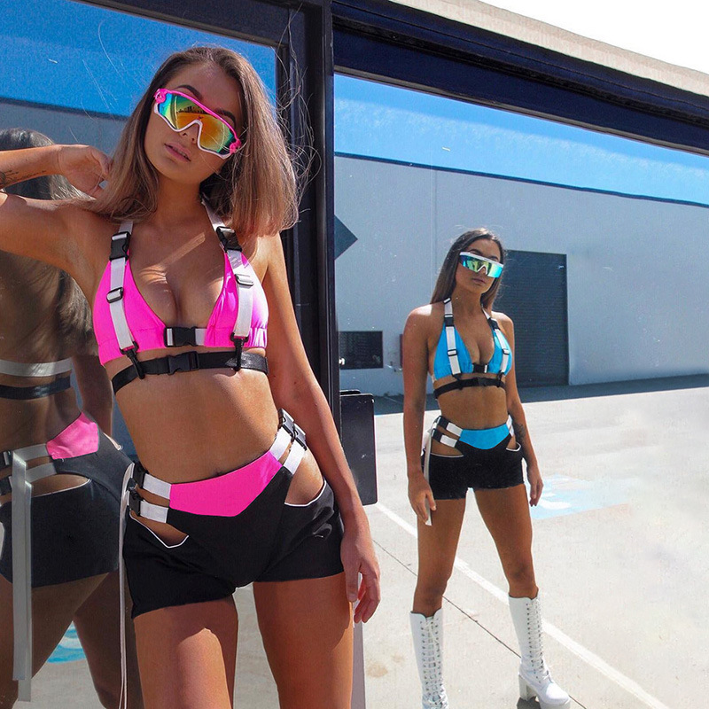 2019 Block Color Women Pant Suit Set Fashion Patchwork Bag Buckles Tank Top And Shorts 2 Piece Hip Hop Style