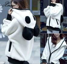 Xnxee womens new black and white panda hooded zipper jacket