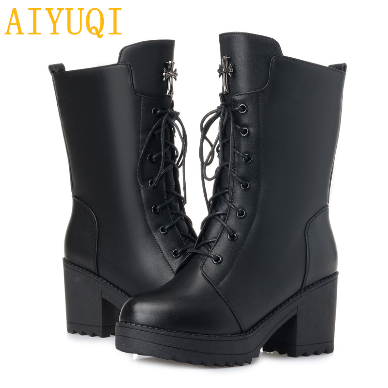 AIYUQI Women boots 2019 new genuine leather women military boots size 35 42 platform female winter boots wool snow boots women in Mid Calf Boots from Shoes