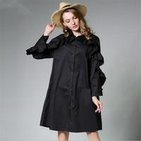 Plus Size XL 4XL Fasion Ruffles Sleeve Loose Blouse Women Autumn Black Women Blouse Spring Elegant