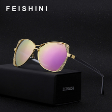FEISHINI Brand Designer Fashion Eyewear Gradient Vintage Sunglasses Polarized Women Cat eye Pink Mirror Classic Metal Pattern