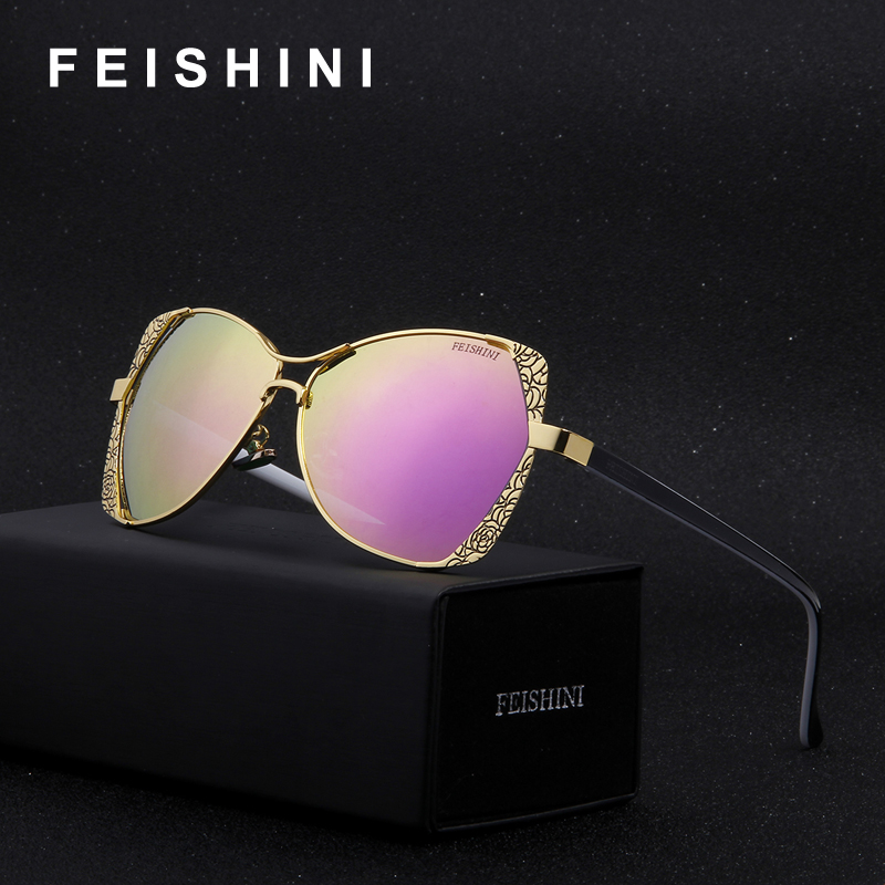 FEISHINI Brand Designer Fashion Eyewear Gradient Vintage Solglasögon Polarized Women Cat Eye Pink Mirror Classic Metal Pattern