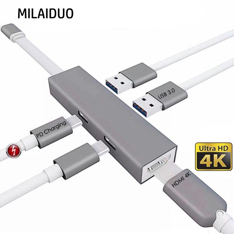 Moyeu de USB type C Hdmi 5 en 1 moyeu de USB C vers adaptateur HDMI 4 K pour Macbook Pro/pour Matebook avec Port de chargeur USB-C PD