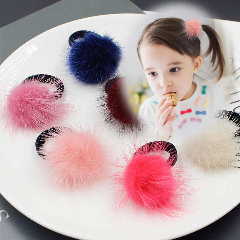 M MISM Baby Girl Fashion Gum Pompon Elastic Hair Bands Ball Pink Scrunchy Children Lovely Kids Rubber Headbands Hair Accessories