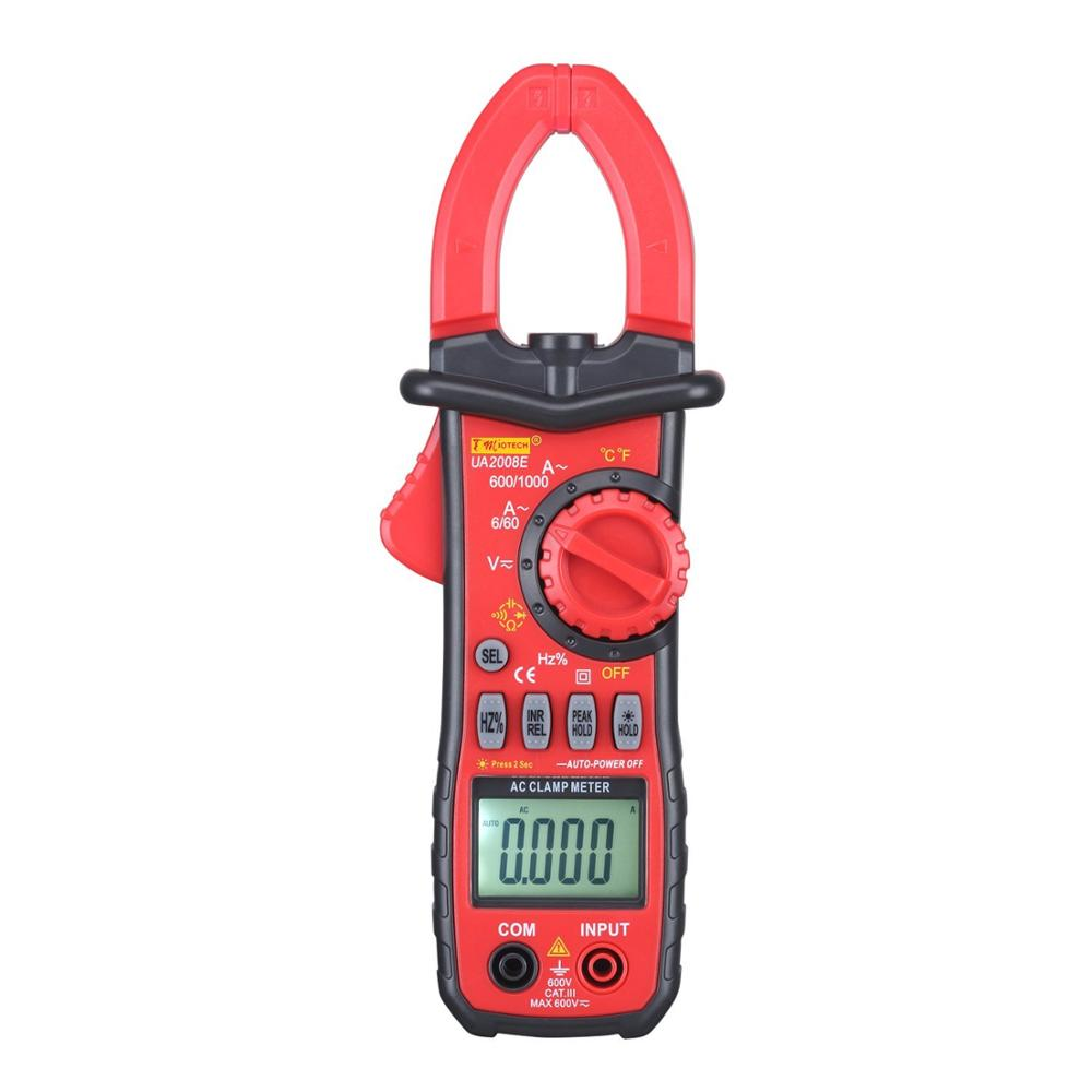 AC DC LCD Multimeter Voltage Current Ohm Auto Range Digital Clamp Meter for Testing Temperature Frequency Diode and Continuity excel dt9205a 3 lcd digital multimeter black orange 1 x 6f22