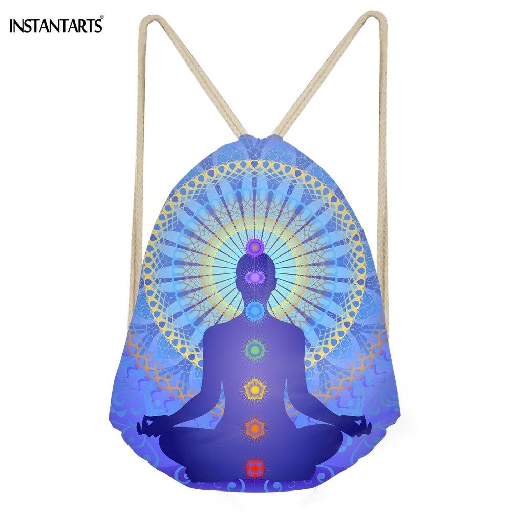 INSTANTARTS Fashion Indian Chakra Pattern Woman Drawstring Bags Casual Softback Beach Bags For Teen Girls Large Storage Sack Bag