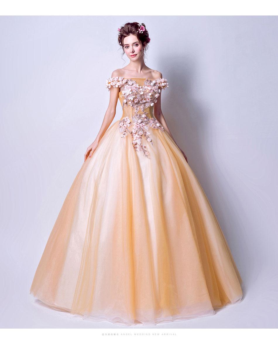 100%real light sky blue/light orange long ball gown Medieval dress ...