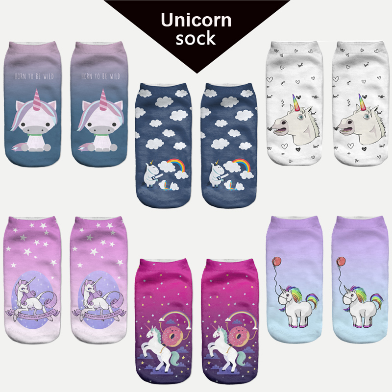 Women Harajuku Pikachu 3D Cute Unicorn Print Socks Low Cut Ankle Comfortable Hosiery Meias Calcetiness Calzini Chaussette Femme