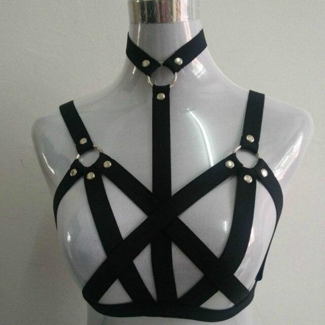 2017 new  pastel goth women neck collar studded garterbelt gothic bust bondage bra sexy  cage bondage lingerie black retail