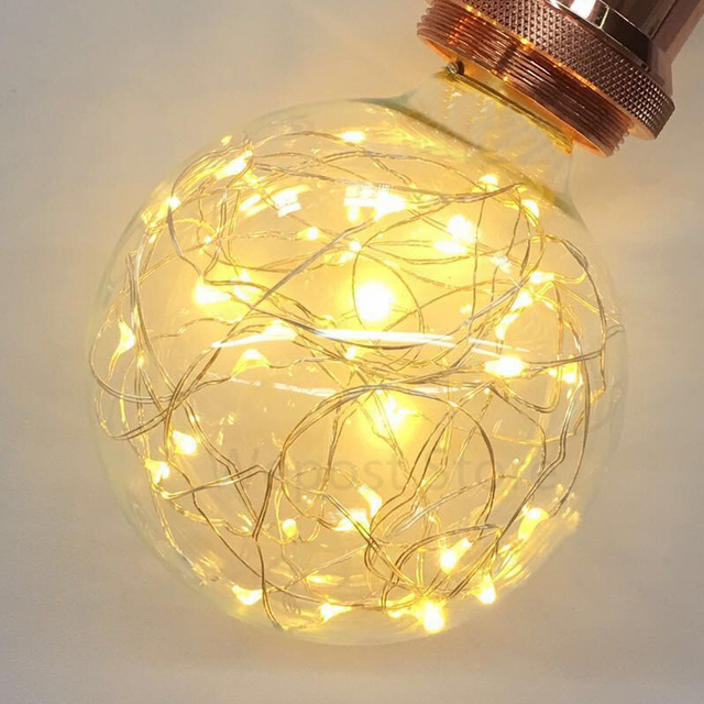 E27 Copper Wire Decorative Light Bulb Colorful LED Edison Ball Bulb G95  Fireworks Lamp Holiday Lights Christmas Home Decor