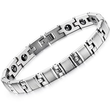 Unisex Magnet Stone Chain Link Bracelets Classical 316L Stainless Steel Women Men Health Care Jewelry Link