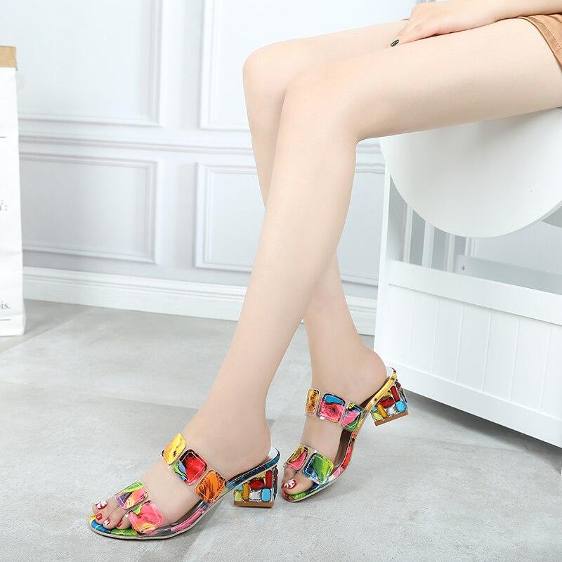 HTB10ZLdLpzqK1RjSZFoq6zfcXXag Lucyever 2019 Summer Women Multi Colors Sandals Fashion High Heels Open Toe Beach Flip Flops Ladies Crystal Heel Shoes Woman