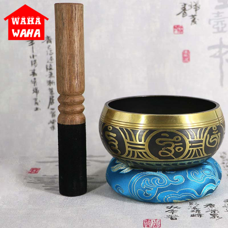 3Pcs/Set Tibetan Bowl Buddhist Bowl Singing Bowl With Bowls Mats Meditation Sound Massage Home Ornament Belief Buddhist Supplies