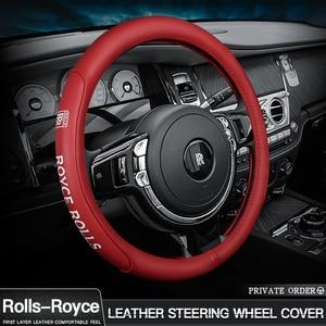 Dedicado a la cubierta del volante de Rolls Royce Phantom/Ghost/wratros/amanecer conjunto de asas de cuero del coche insignia del logotipo cubierta del volante