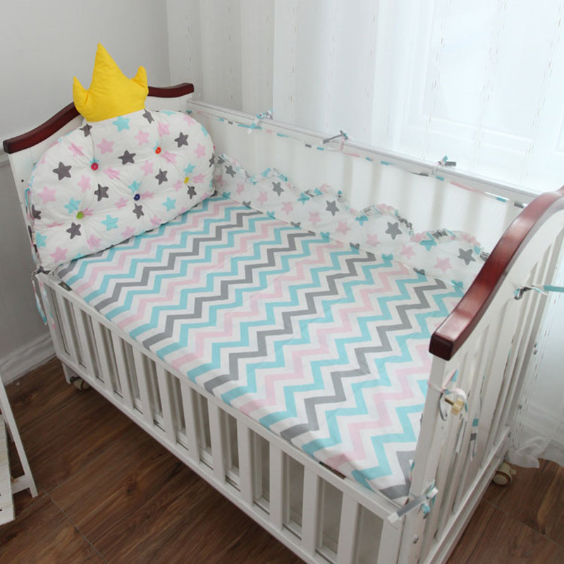 Customized Size Baby Bedding Set 5pcs Baby Bed Linens Set Crown Backrest Cushion In Cot Crib Mesh Protect Bumpers +Flat Sheet