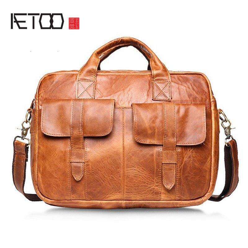 AETOO 2017 new winter leather bag and retro crazy horse brand bag handbag Crossbody Bag aetoo 2017 new 100