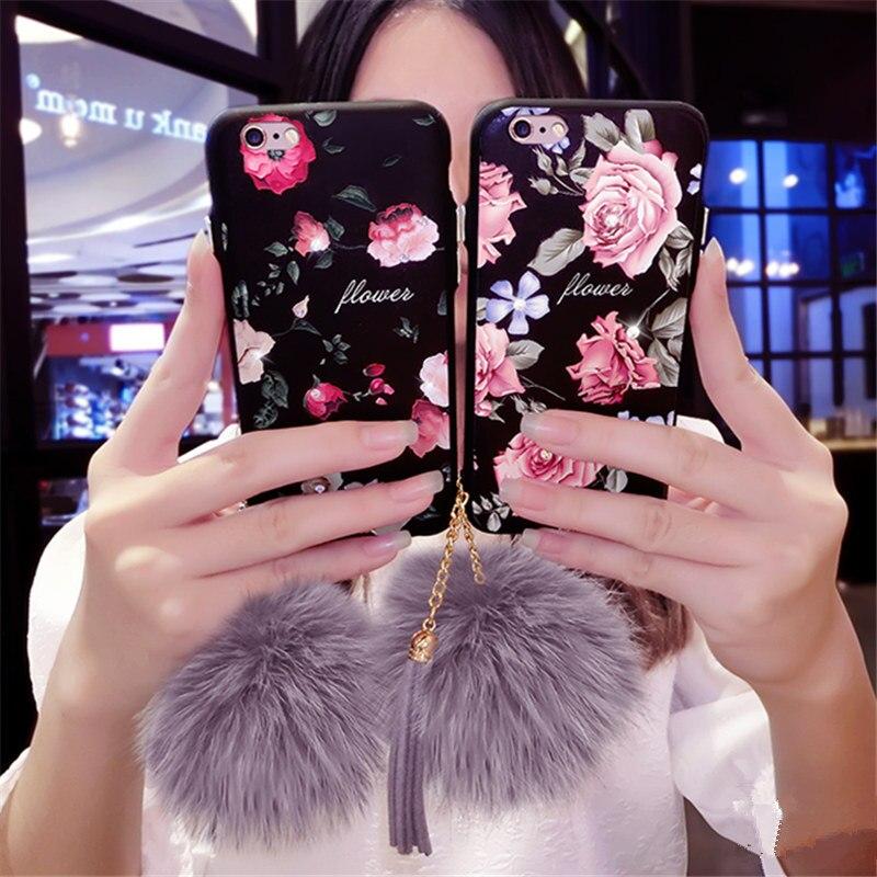 For iPhone 6 6S 7 Plus 2017 New Luxury Girls Fashion Glitter Rose Flower Fur Ball <font><b>Tassels</b></font> <font><b>Phone</b></font> <font><b>Case</b></font> Soft Black Cover