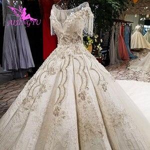 Image 1 - AIJINGYU 웨딩 간단한 드레스 집시 스타일 가운 2021 빅 사이즈 약혼 공주 기차 사용자 정의 가운 대체 웨딩 드레스