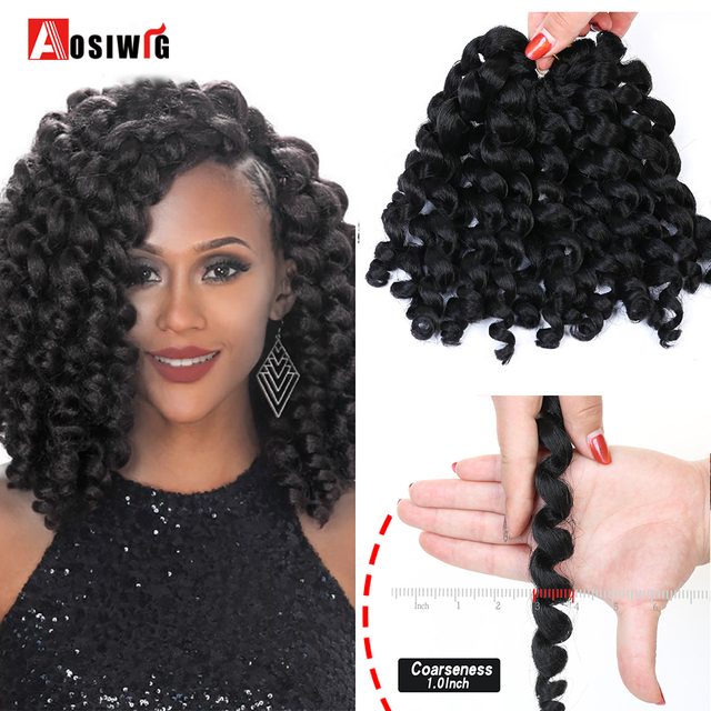Aosiwig 4 Colors Ombre Jumpy Wand 8 Synthetic Crochet Braids Hair Curly Twist