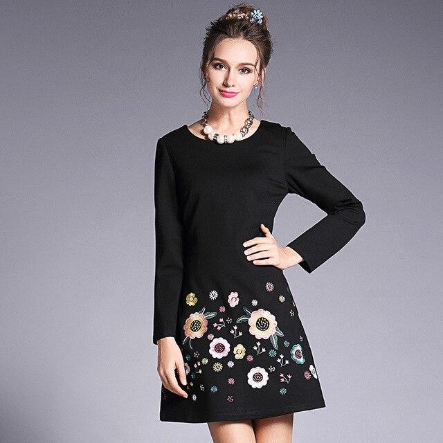 4babc5b0c5 US $45.99 30% OFF|OUYALIN L 5XL Vintage Floral Embroidery Short Dress 2017  Autumn O neck Slim Fit Office Dresses Women Plus Size Clothing Vestido-in  ...