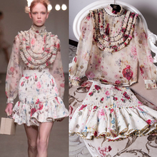 VogaIn 2016ss Runway Luxury Women Elegant Floral Printed Silk Top Shirt Stand Collar BIB Ruffles With Beadings Long Sleeved