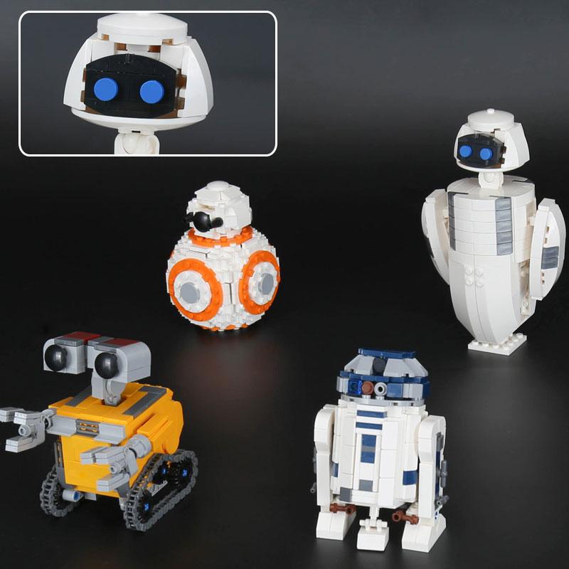 1074Pcs 03073 WallE Eva BB-8 R2D2 4 Robots In 1 Set STAR Movie WARS Building Blocks Toys DIY Kids Gifts Compatible Legoe