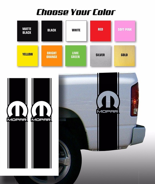 Car styling for mopar for dodge pickup truck bed stripes decal stickers choose color