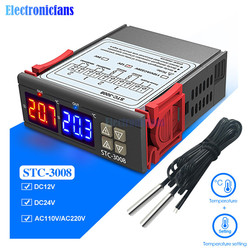 STC-3008 DC 12V 24V AC 110V 220V Dual Digital Temperature Controller  Two Realy Output Thermostat Thermoregulator with Sensor