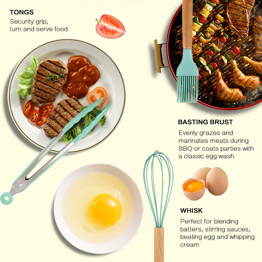 Silicone Cooking Utensils Kitchen Utensils, Acacia Wooden Cooking Tool for Nonstick Cookware - Best Kitchen Gadgets