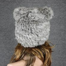 Free Shipping Genuine Knit Rabbit Fur Hat Nature Rabbit fur Cap Headgear Headdress Various Fashion