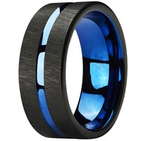 Mens Tungsten Rings 8mm Wedding Band Blue Center Groove Black Line Brushed Couples Engagement Rings Antique Jewelry