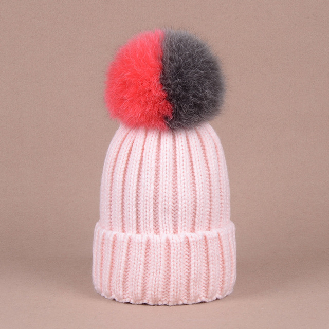 New Fall Winter Beanies Caps Fashion Stitching Color Pom pom Fox Fur Ball Hats Knitted Crimping Skullies Caps Warm Hats CP057