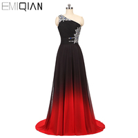 NEW One Shoulder A Line Long Evening Gown Designer Gradient Chiffon Formal Evening Dress